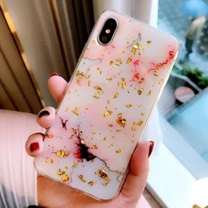 Accessories - NEW iPhone X/XS Gold & Pink Foil Marble Case